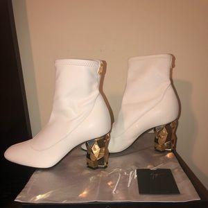 Giuseppe Zanotti gold heel ankle booties